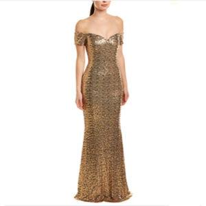 Badgley Mischka Off-Shoulder Sequin Gown